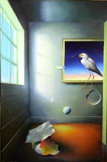 Room With a Bird 1996 59x39 Super Huge Original Painting - (Fernando de Jesus Oliviera) Ferjo