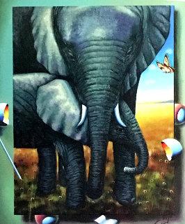 Elephants 34x28 Original Painting by (Fernando de Jesus Oliviera) Ferjo