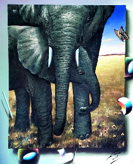 Elephants 2018 40x35 Super Huge Original Painting - (Fernando de Jesus Oliviera) Ferjo