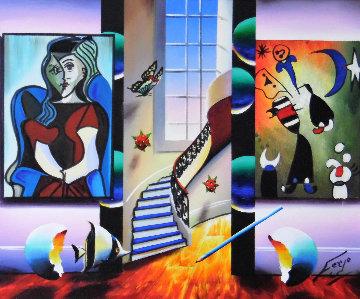 Window to Happiness 2014 26x30 Original Painting by (Fernando de Jesus Oliviera) Ferjo