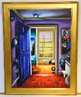 Blue Door/Homage to Miro 36x46 Super Huge Original Painting by (Fernando de Jesus Oliviera) Ferjo - 1
