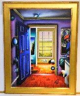 Blue Door/Homage to Miro 36x46 Super Huge Original Painting by (Fernando de Jesus Oliviera) Ferjo - 2