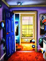 Blue Door/Homage to Miro 36x46 Super Huge Original Painting by (Fernando de Jesus Oliviera) Ferjo - 0