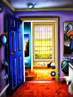 Blue Door/Homage to Miro 36x46 Original Painting - (Fernando de Jesus Oliviera) Ferjo