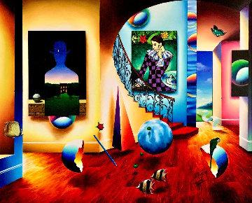Magritte and Harlequin 43x53 Huge Original Painting - (Fernando de Jesus Oliviera) Ferjo
