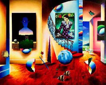 Magritte and Harlequin 43x53 Super Huge Original Painting - (Fernando de Jesus Oliviera) Ferjo