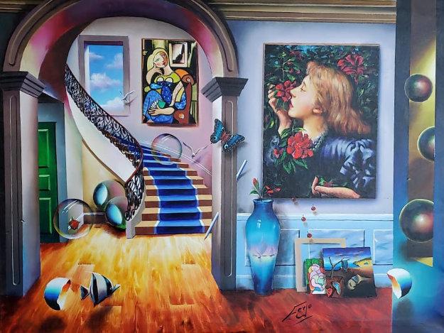 Smelling Flowers 2020 36x48 Original Painting by (Fernando de Jesus Oliviera) Ferjo