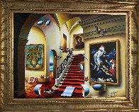 Stairway With Chagall And Van Gogh 40x30 Huge Original Painting by (Fernando de Jesus Oliviera) Ferjo - 1