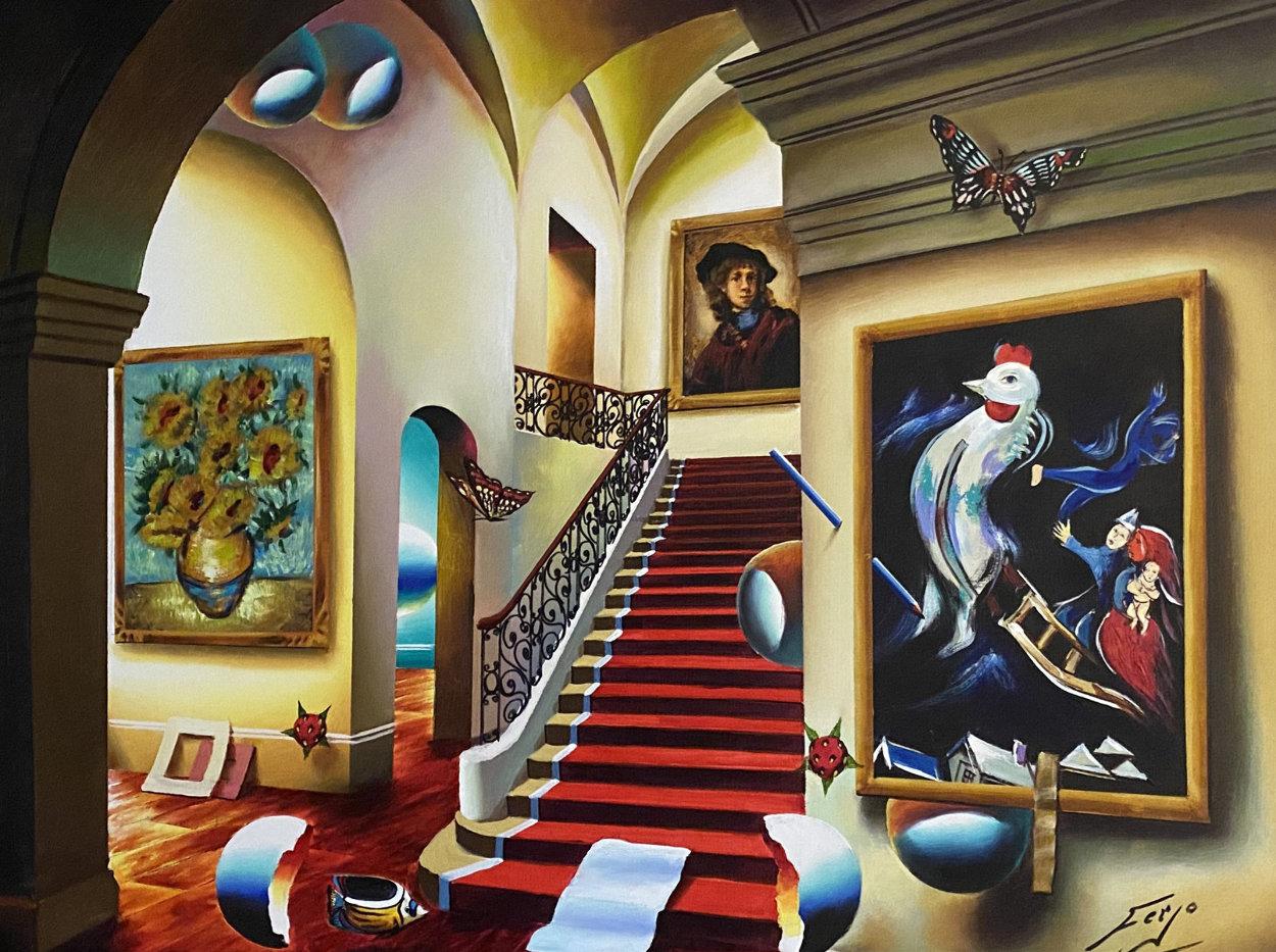 Stairway With Chagall And Van Gogh 40x30 Huge Original Painting by (Fernando de Jesus Oliviera) Ferjo