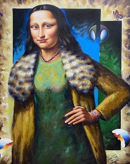Untitled (Mona Lisa) 49x36 Huge Original Painting - (Fernando de Jesus Oliviera) Ferjo