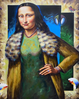Untitled (Mona Lisa) 49x36 Super Huge Original Painting - (Fernando de Jesus Oliviera) Ferjo