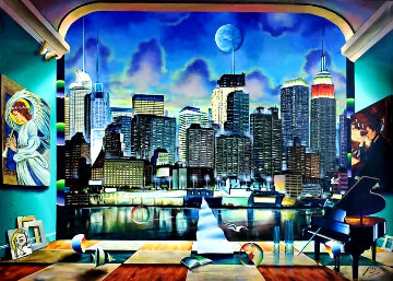 New York Evening 2020 50x70 Original Painting - (Fernando de Jesus Oliviera) Ferjo