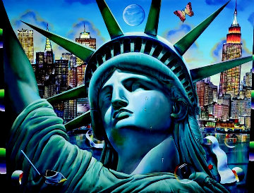 Lady Freedom 2020 36x48 Super Huge Original Painting - (Fernando de Jesus Oliviera) Ferjo