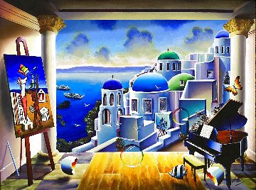 Untitled Greek Island 2020 36x48 Super Huge Original Painting - (Fernando de Jesus Oliviera) Ferjo