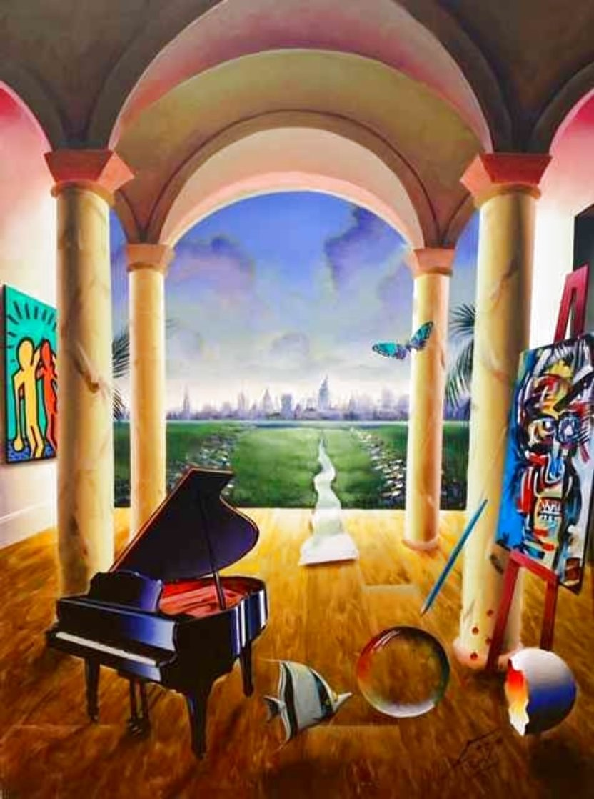 Distant City 40x30 Original Painting by (Fernando de Jesus Oliviera) Ferjo