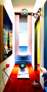 Untitled Surrealist Painting 2001 56x32 Super Huge Original Painting - (Fernando de Jesus Oliviera) Ferjo