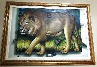 Behind the Lion 1991 51x70 Super Huge  Original Painting by (Fernando de Jesus Oliviera) Ferjo - 1