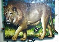 Behind the Lion 1991 51x70 Super Huge  Original Painting by (Fernando de Jesus Oliviera) Ferjo - 3