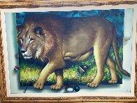 Behind the Lion 1991 51x70 Super Huge  Original Painting by (Fernando de Jesus Oliviera) Ferjo - 2
