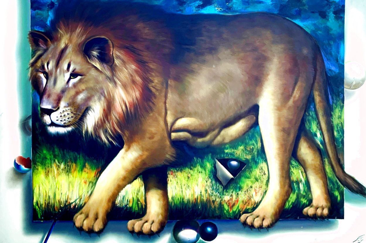 Behind the Lion 1991 51x70 Super Huge  Original Painting by (Fernando de Jesus Oliviera) Ferjo