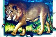 Behind the Lion 1991 51x70 Super Huge  Original Painting by (Fernando de Jesus Oliviera) Ferjo - 0