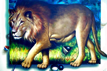 Behind the Lion 1991 51x70 Super Huge  Original Painting - (Fernando de Jesus Oliviera) Ferjo