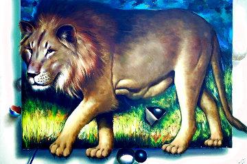 Behind the Lion 1991 51x70  Huge  Original Painting - (Fernando de Jesus Oliviera) Ferjo