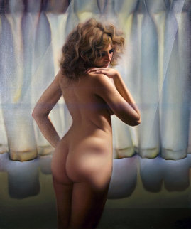 Untitled (Nude Model) 1980 48x40 Super Huge Original Painting - (Fernando de Jesus Oliviera) Ferjo