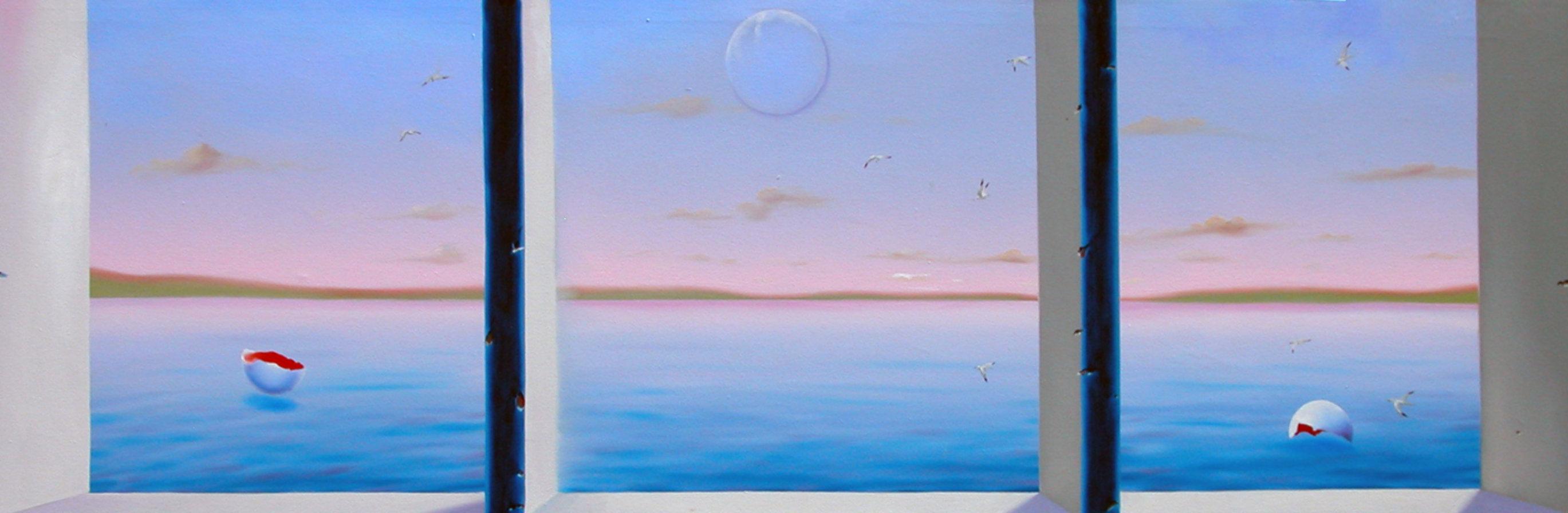 Blue Sea Triptych 22x72 Super Huge!  Original Painting by (Fernando de Jesus Oliviera) Ferjo