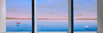 Blue Sea Triptych 22x72 Super Huge!  Original Painting - (Fernando de Jesus Oliviera) Ferjo