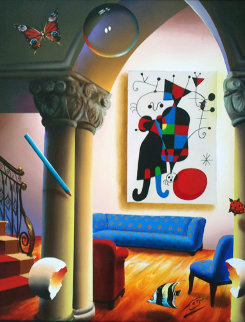 Untitled Interior  with Miro Painting 37x31 Original Painting - (Fernando de Jesus Oliviera) Ferjo
