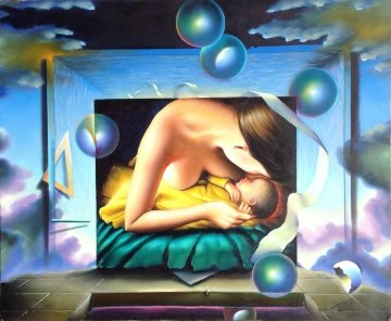 Mother And Child 1999 40x50 Original Painting - (Fernando de Jesus Oliviera) Ferjo