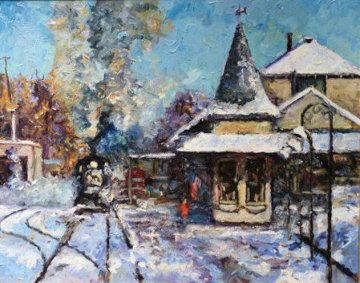 New Hope Station House 32x38 Pennsylvania Original Painting - Alan Fetterman