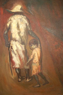 Father And Child 41x25 Huge Original Painting - Luis Filcer