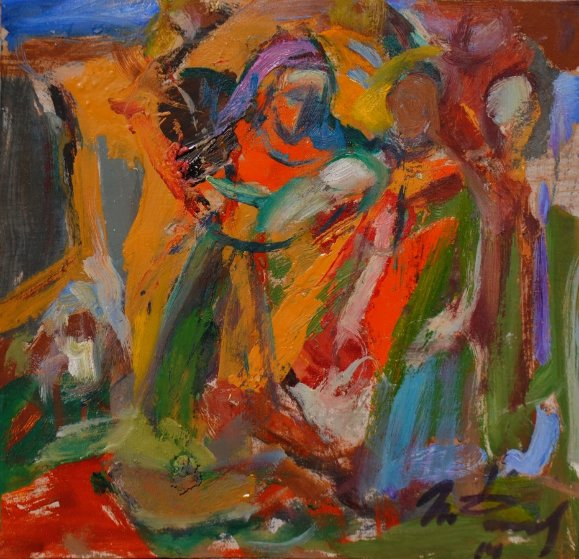 Christmas 2014 9x9 Original Painting by Ivan Filichev