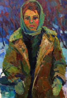 Dairymaid 1965 18x22 Original Painting - Ivan Filichev