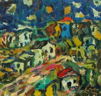 Little Houses 2013 9x9 Original Painting - Ivan Filichev