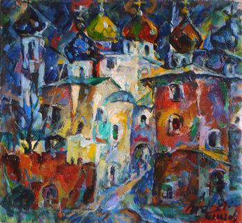 Monastery Domes 1995 18x20 Original Painting by Ivan Filichev