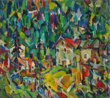 Tourist Camp Site in the Mountains 2001 Original Painting - Ivan Filichev