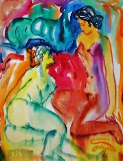 Women Watercolor 1978 17x13 Watercolor - Ivan Filichev