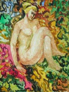 On the Carpet Watercolor 1979 Watercolor - Ivan Filichev