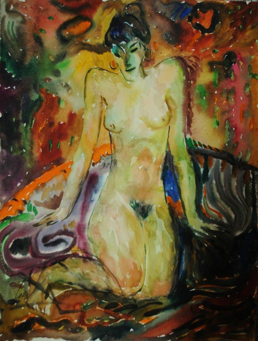 Nude Woman Watercolor  1978 19x14 Watercolor by Ivan Filichev