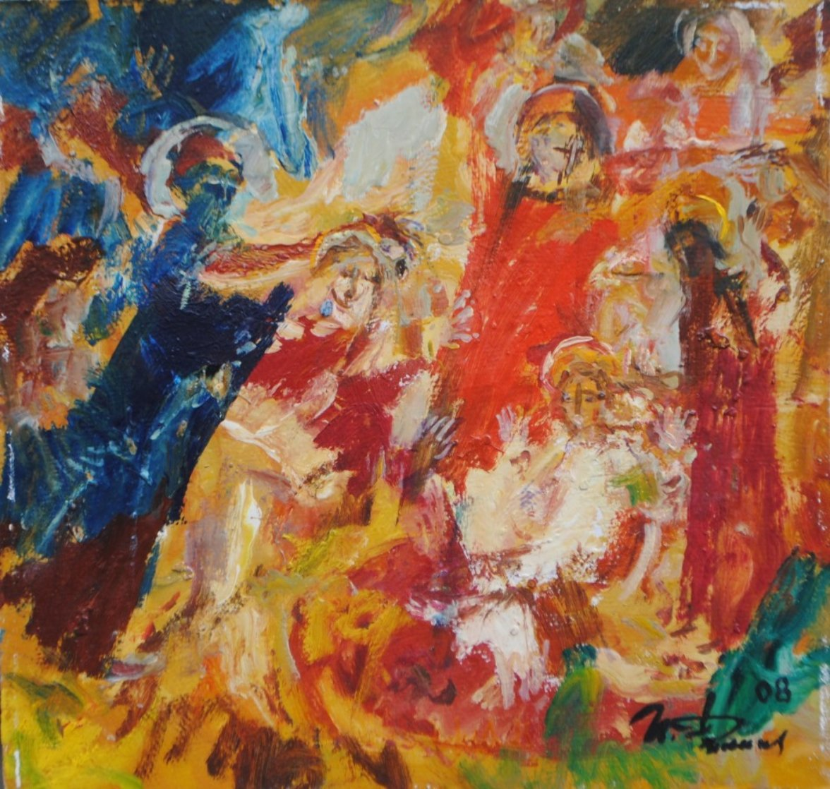 Christ And Angels 2008 15x16 Original Painting by Ivan Filichev