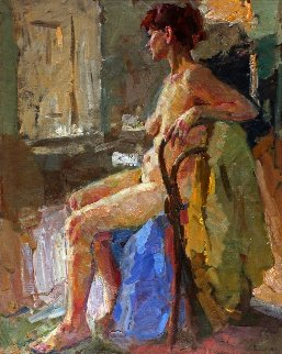 Nude on the Chair 40x32 Original Painting - Viktor Filipov