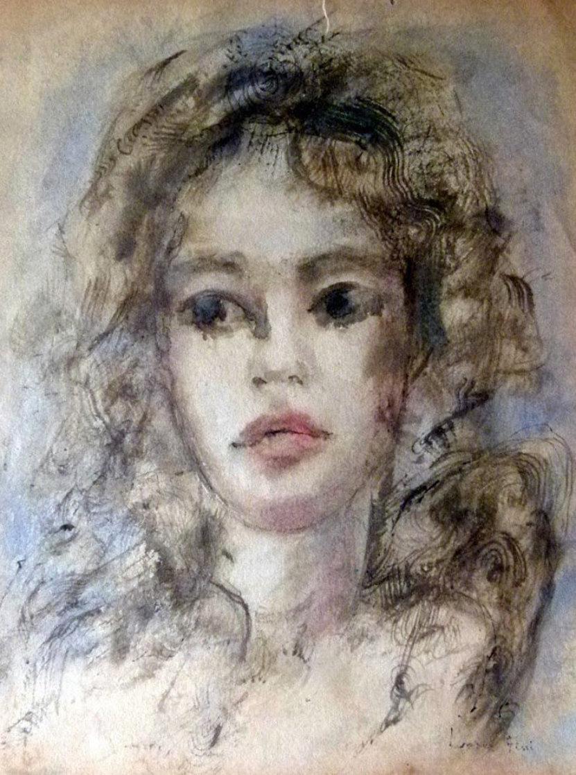 Woman Portrait 18x12 Works on Paper (not prints) by Leonor Fini