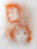 Red Faces Watercolor 1970 Watercolor by Leonor Fini - 0