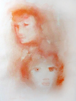 Red Faces Watercolor 1970 Watercolor - Leonor Fini