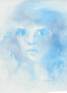 Blue Face Watercolor 1980 Works on Paper (not prints) by Leonor Fini