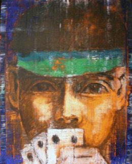 Poker Player 1986 40x30 Huge Original Painting - Aaron Fink