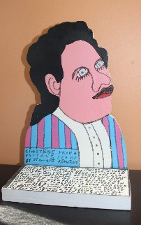 Einstein From a Postage Stamp (Einstein) Wood Sculpture 1994 10 in Sculpture by Howard Finster